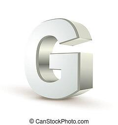 3d alphabet silver G