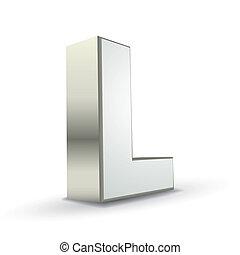 3d alphabet silver L