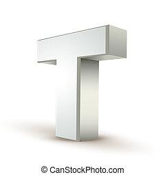 3d alphabet silver T