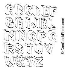 3d, alphabeth, lettered, karikatur, hand