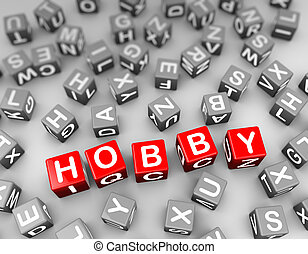 3d rendering of alphabets blocks cubes of word text hobby