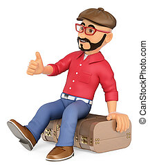 3D Alternative man sitting on a vintage suitcase hitchhiking