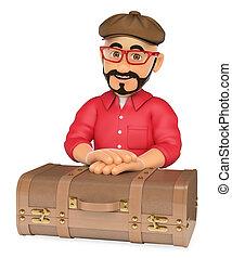 3D Alternative man with a vintage suitcase
