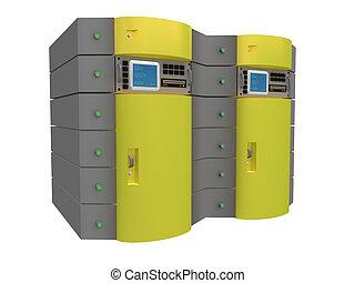 3d, amarillo, servidor