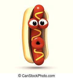 3d Amazed hot dog - 3d render of a hot dog looking truly...