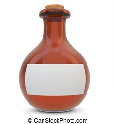 3d amber potion flask with blank label on white background
