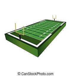 3D American Football Field Illustration - A 3D three...