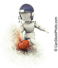 3D American football player touchdown