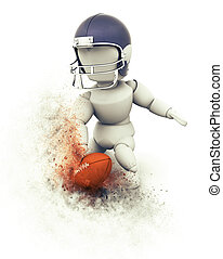 3D American football player touchdown