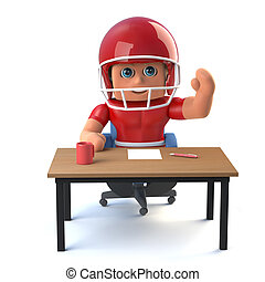 3d American football player waving from behind a desk.