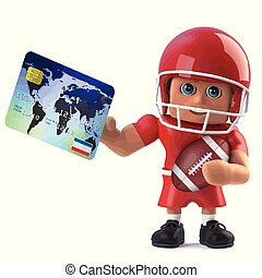 3d American footballer pays with a debit card - 3d render of...