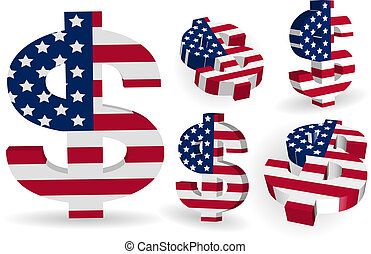 3D American US dollar signs with US flag