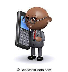 3d, americano africano, homem negócios, usos, um, telefone móvel