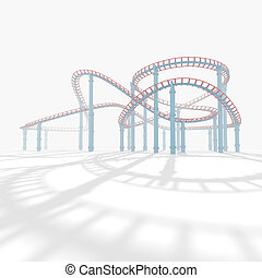 3d amusement park. - 3d roller coaster in the background...