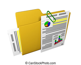 3d an illustration: a yellow folder with documents and ...