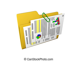 3d an illustration: a yellow folder with documents and...
