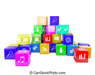 3d an illustration color cubes with the image of icons