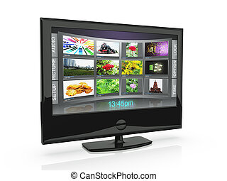 3d an illustration: the TV with pictures costs on a white background