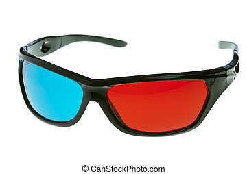 3d anaglyph glasses over white