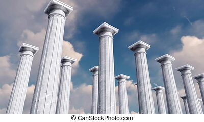 3D ancient columns in a row against cloudy sky - Low angle...