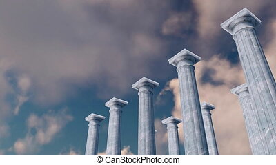 3D ancient pillars colonnade against cloudy sky - Ancient...
