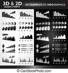 3D and 2D Black&White Set elements od Infographics