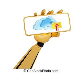 3d android's hand hold a plate with cloud computing icon