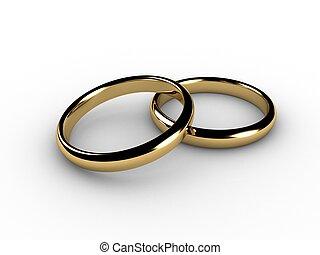 3d, anillos, boda