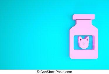 3d, animal., isolado, pills., medicina, prescrição, garrafa, minimalism, recipiente, cão, cor-de-rosa, render, azul, ícone, experiência., ilustração, concept.