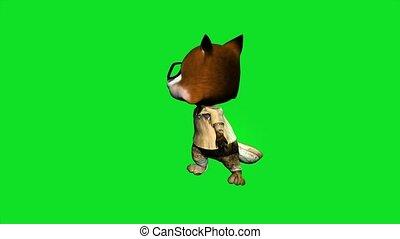 3d animated cartoon foxy looking arround, set on green ...