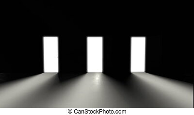 3D animated concept of opening three doors, White light. A dark room, a game of shadows. Monochrome image.