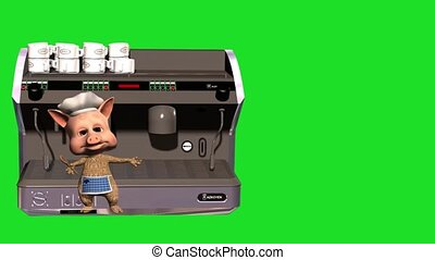 3d animated of cartoon piggy with coffee machine and green background.