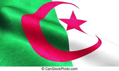 3D animated render of Algeria waving flag seamless loop