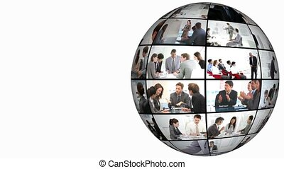 3d animatie, op, handelsconferentie