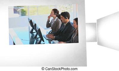 3d animatie, op, zakelijk, communicat