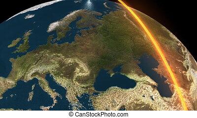 3d animatie, van, de aarde