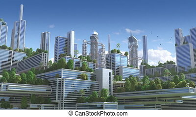 """3d animatie, van, een, futuristisch, """"green"""", stad"""