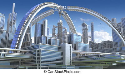 3d animatie, van, een, futuristisch, stad