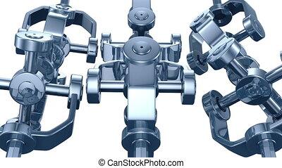 3d animatie, van, mechanisch, onderdelen, sp