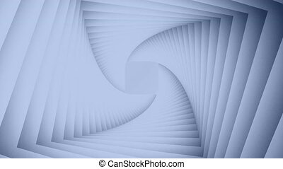3D animation abstract background in the form of twisting lines in a circle with the approaching forward and distancing back in different colors