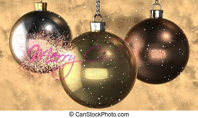 "3d animation: abstract background of greeting card with animation of rotation metal tree toys, snow and appear pink text ""Merry Christmas"" decoration. copper, silver, gold balls with reflection."