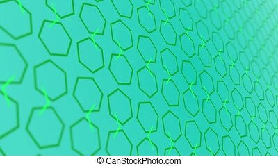 3D animation background with enlarge rotating hexagon and moving lines. Blue and green