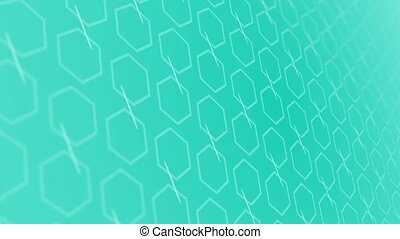 3D animation background with enlarge rotating hexagon and moving lines. Blue and white