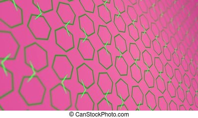3D animation background with enlarge rotating hexagon and moving lines. Pink and green