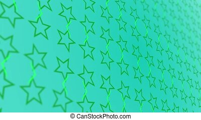 3D animation background with enlarge rotating stars and moving lines. Blue and green