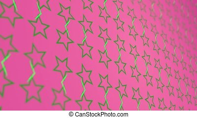 3D animation background with enlarge rotating stars and moving lines. Pink and green