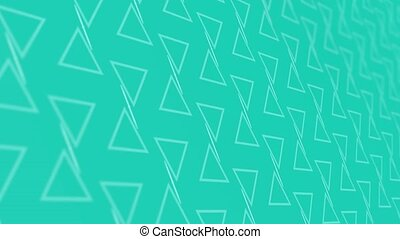 3D animation background with enlarge rotating triangle and moving lines. Blue and white