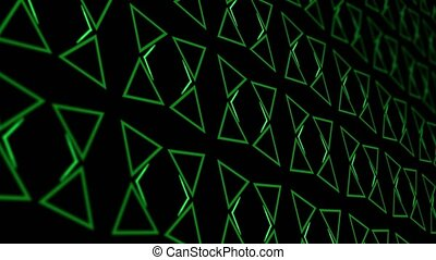 3D animation background with enlarge rotating triangle and moving lines. Black and green