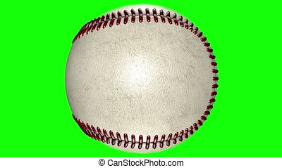 3D animation, baseball ball rotating in middle of transparent background.