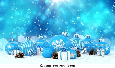 3d animation - blue christmas baubles over bokeh background...